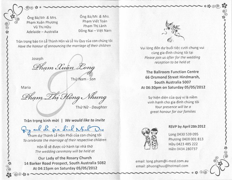 Vietnamese Wedding Invitation as good invitations example